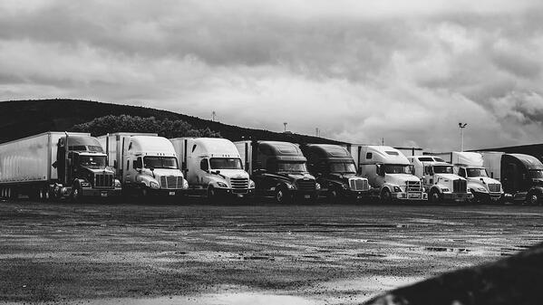 semi-trucks lined up