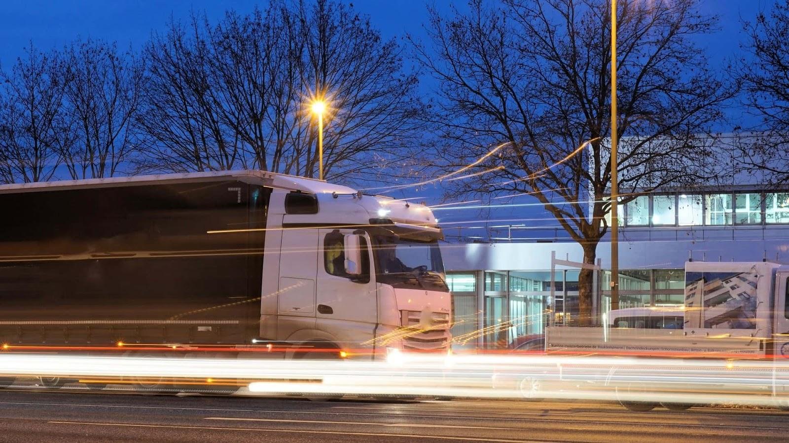truck driving blur