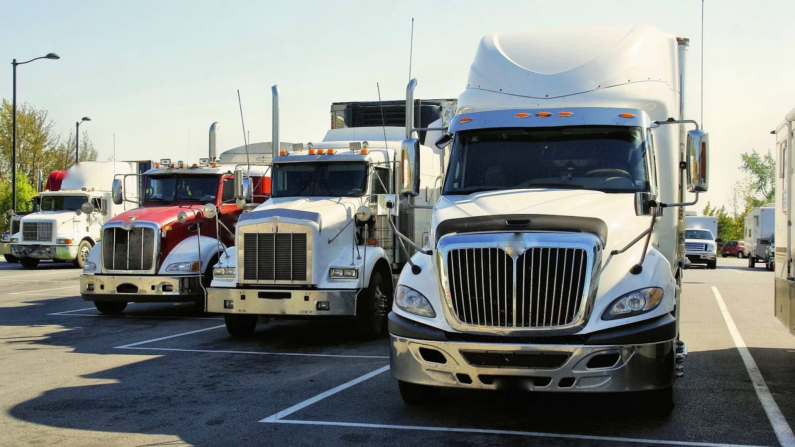 trucks lined up in parking lot