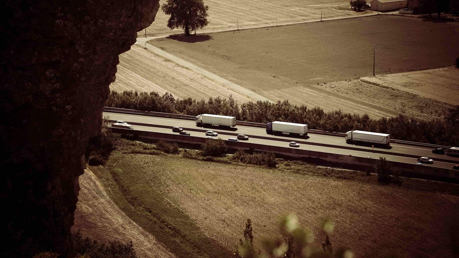 trucks on a highway